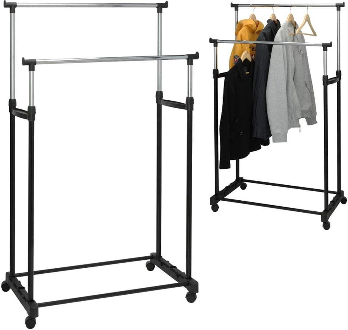 Relaxwonen - Dubbel kledingrek - op wielen met instelbare hoogte - 86x42x170cm - Mobiel kleding rek
