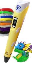 3D Teken Pen Speelgoed Starterset Geel – Tekenen en Knutselen voor Kinderen – 3D Knutselpakket met LCD Scherm en 12x3M Filamenten