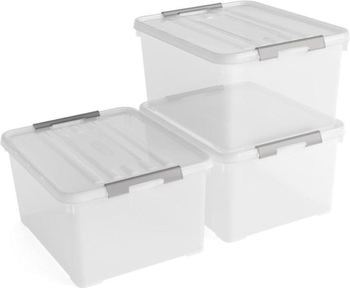 Curver Handy+ opbergbox - 35L - 3 stuks - transparant