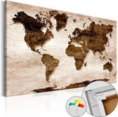 Afbeelding op kurk - Bruine Aarde , Wereldkaart, 1luik