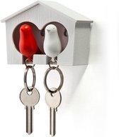 Qualy Sleutelhouder Sparrow wit - rood - incl. 2 sleutelhangers