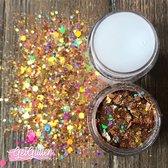 GetGlitterBaby Chunky Festival Glitters voor Lichaam en Gezicht / Face Body Glitter - Goud - en Glitter HuidLijm