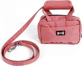 Leuk handtasje om de wandelen met de hond - poepzakjes tas met leiband - ROOD