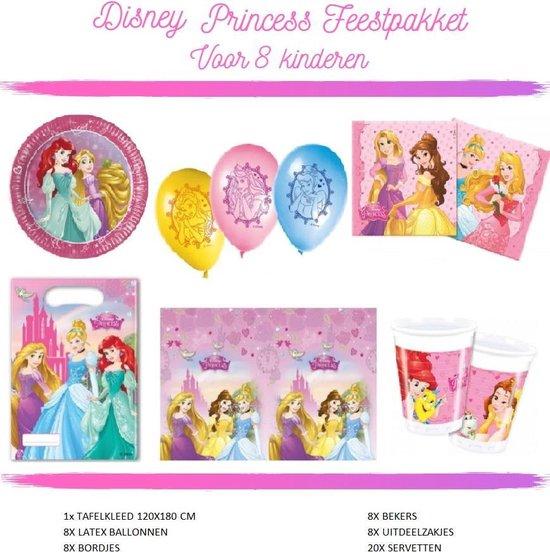 Disney Princess Versiering Verjaardag Feestpakket - Kinderfeestje - Voor 8 Kinderen