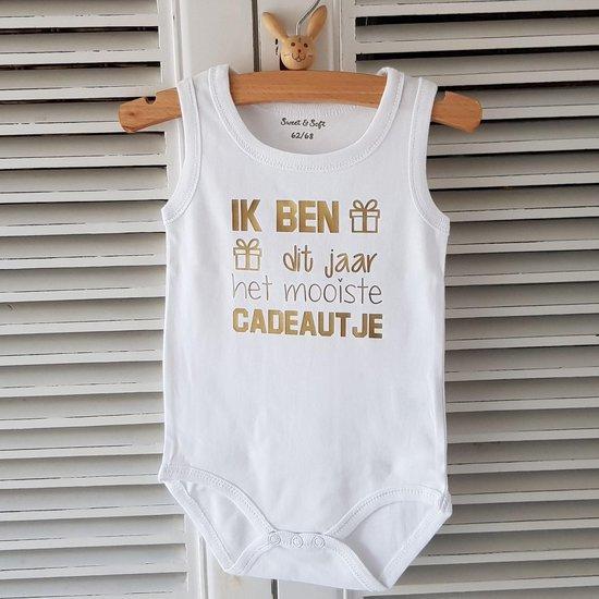 Baby Rompertje met tekst zwangerschap aankondiging - announcement Ik ben dit jaar het mooiste cadeautje | mouwloos l | wit goud | maat 50-56 | cadeau papa mama oom tante opa oma