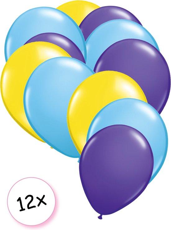 Ballonnen Geel, licht blauw & Paars 12 stuks 27 cm