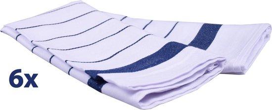 Keukenhanddoek – Thee- Handdoek –100% katoen - Gestreept – 50x70 cm – set per 6 – Blauw
