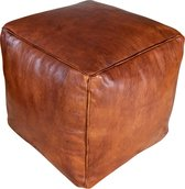 Vierkante leren XL poef - Honey Bruin -  Handgemaakt en stijlvol - Gevuld geleverd