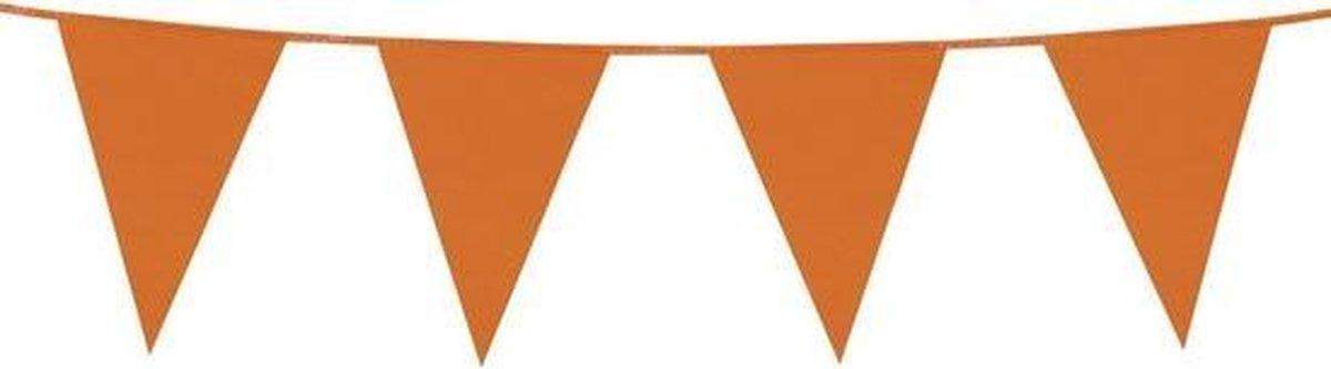 Oranje plastic buiten feest slinger 10 meter - Koningsdag vlaggenlijn - WK / EK versiering