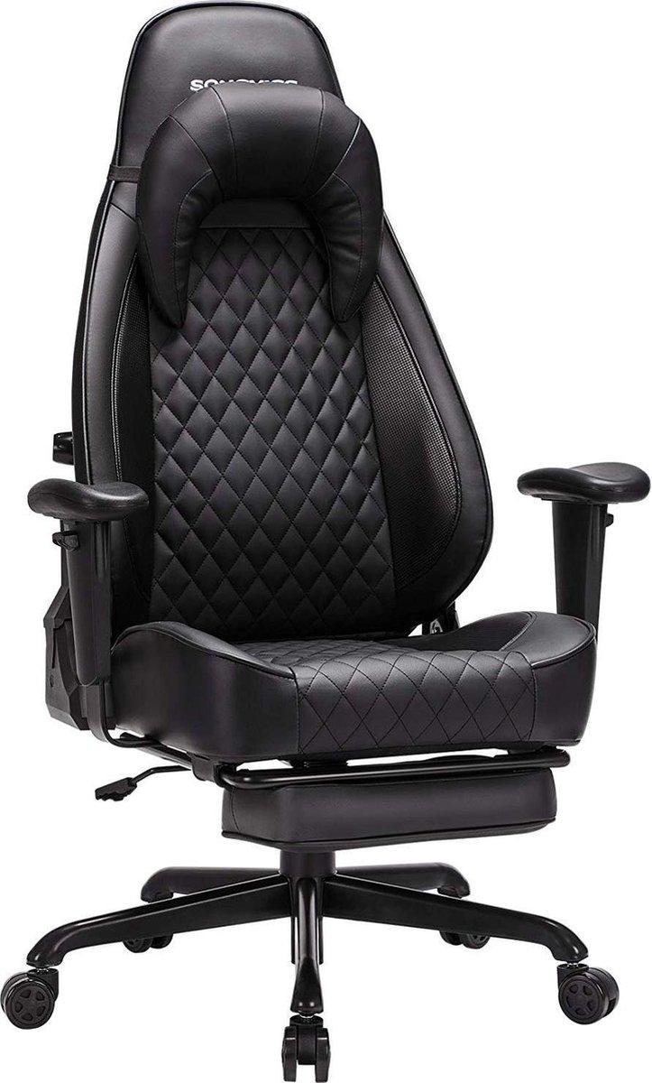 Nancy's Luxe Bureaustoel Ergonomische Bureaustoelen Bureaustoelen Voor Volwassenen Game Stoel Directiestoel Hoofdsteun Voetensteun Zwart