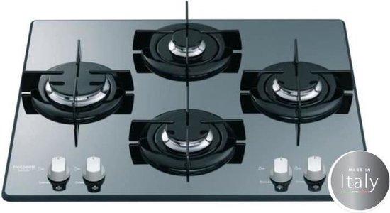 HOTPOINT FRDD 642 HA (ICE) Gaskookplaat-4 open haarden-7,3kW-L60 x D 51cm - Glascoating - Zwart