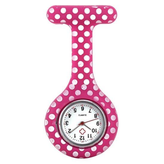 Verpleegster horloge – Verpleegsterhorloge – Nurse Watch – siliconen – dots roze