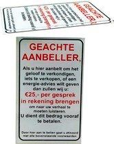 Geen Verkopers, Geloofsovertuigers of Energie adviezen aan de deur sticker bordje - Glashelder Acrylaat - 95 mm x 60 mm - Promessa-Design.