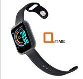 Q-time 2020 - Waterdichte – Bluetooth - Sport SmartWatch – ip67 - Ondersteuning voor iPhone  Android Xiaomi – Stappenteller - Fitness Tracker – Hartslagmeter - Ingebouwde 150 mAh Batterij – Laden via USB - Zwart
