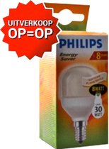 Philips Soft Flame spaarlamp Softone Flame Lustre 8W WW E14 230-240V T45 8W E14 fitting (kleine fitting)