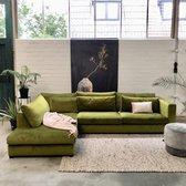 4x6 SOFA hoekbank – ruim met losse kussens – fluweel groen