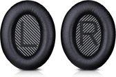 Lederen Set Oorkussens Voor Bose Koptelefoon QuietComfort 35, Grijs en Zwart, QC35II/QC35/QC25/QC2/QC15/Soundtrue/Soundlink Around-Ear II AE2 headphones, Vervangende Kussens Voor Hoofdtelefoon - 1 Paar