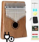 Elektrische Kalimba – 17 Tonen - Muziekinstrument – Duimpiano Incl. Hardcase & 7 Accessoires – Tropisch Klankgeluid - E-Shoppr®