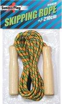 Springtouw groen/oranje 210 cm met houten handvatten - Buitenspeelgoed - Sportief speelgoed voor jongens/meisjes/kinderen