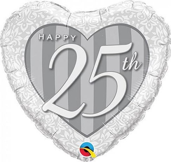 Folieballon 25 jaar getrouwd zilver hart