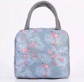 Lunchtas - Koeltas - Lunchbox - Leuke Vrolijke Picknicktas - Kinderen & Volwassenen - Flamingo Grijs