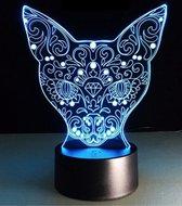 Nachtlamp Mandala kat. Mooie sfeerlamp. Nachtlampje voor kinderen en volwassenen. Mandala beeld. Mooie cadeau lamp. 3D illusie nachtlamp 7 kleuren. stijl 2