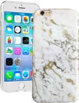 iPhone 7 / 8 Hoesje Wit x Goud Marmer - Marmerprint Back Cover Case