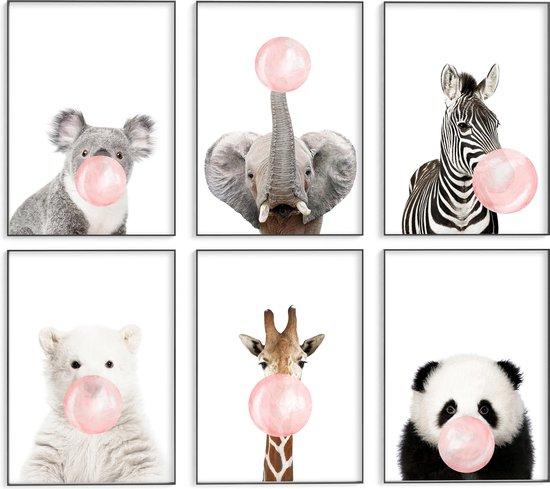 Kinderkamer/babykamer posters – 6 stuks - 30x40 cm - Dieren met roze kauwgombel