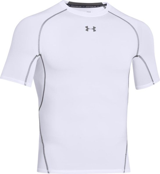 Under Armour HG Armour SS Heren Sportshirt - Wit - Maat M