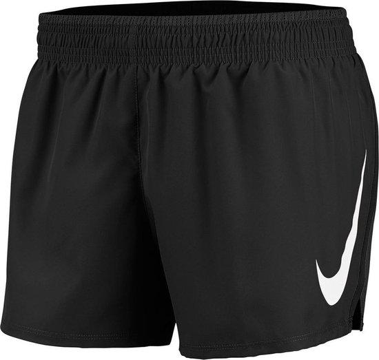 Nike Swoosh Run Short Dames Sportbroek - Black/Black/(White) - Maat L