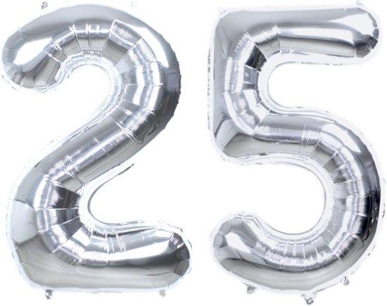 Folie Ballon Cijfer 25 Jaar Zilver 86Cm Verjaardag Folieballon Met Rietje