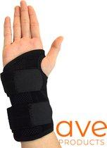 AVE® Comfortabele Polsbrace – Links – Verstelbaar - Polssteun – Polsbandage – Pols – Polsband – Zwart