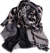 Leopard Sjaal | Grijs Luipaard | Katoen | 180 x 90 cm
