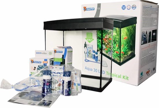 SuperFish Aqua 30 LED Tropical Kit Aquarium - 30L - Zwart - 36 x 23 x 39 cm