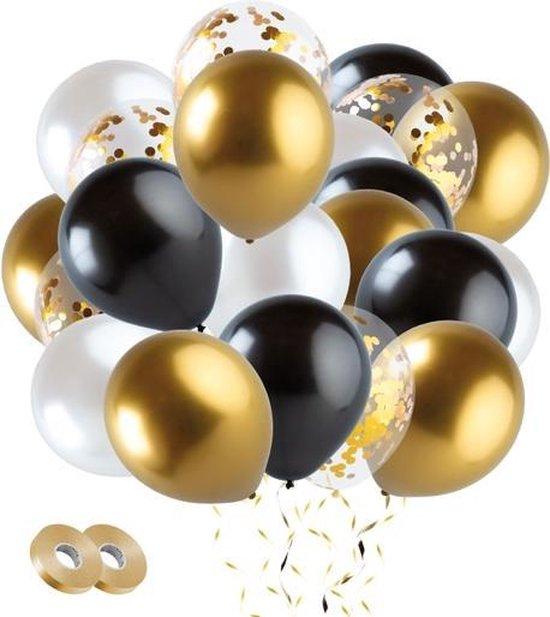 Fissaly® 40 stuks Goud, Zwart & Wit Helium Ballonnen met Lint – Decoratie – Confetti – Latex