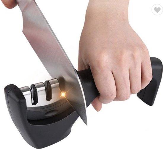 Messenslijper - Zwart - Anti slip - Messen slijper - Slijpen - Mes - Messenslijpers - Proffesioneel slijper - 3 Standen - Ergonomisch - Messen - Scharen slijper
