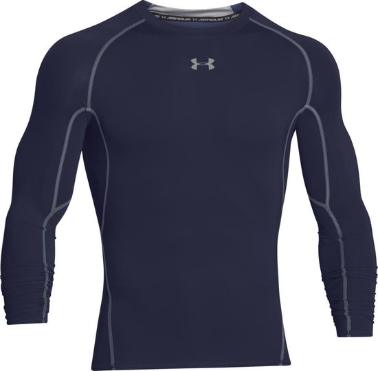Under Armour HG Armour LS Heren Sportshirt - Midnight Navy - Maat M