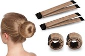 Fashion Favorite | Magic Bun Maker | Set - 2 stuks + Haarelastiek | Lichtbruin | Maak De Perfecte Knot