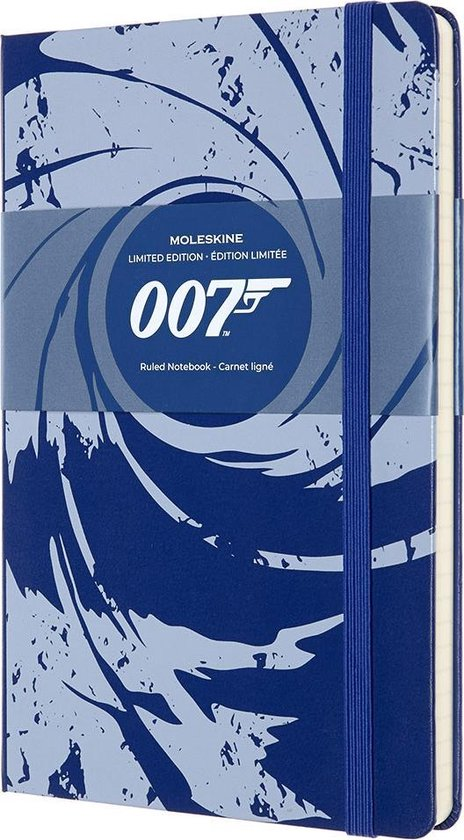 Moleskine Limited Edtion Notitieboek-James Bond-Large-Gelinieerd-Blauw-(13x21cm)
