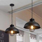 ® Premium Hoge Kwaliteit Industriële Hanglamp Landelijk Eetkamer Eettafel Lamp - 1 Hang Lamp - Industrieel Rond - Zwart