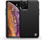 iPaky Schokbestendig iPhone 11 Pro Hoesje - Zwart - Silicon Striped Backcover