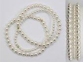 3 elastische Parel Armbanden Made With Pearls From Swarovski Witte Parel maat 22