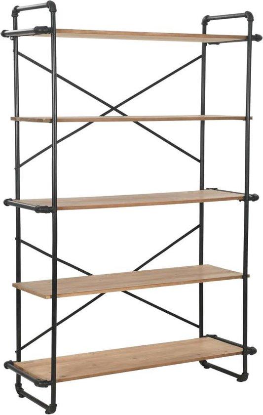 Boekenkast 120x42x180 cm massief vurenhout en staal