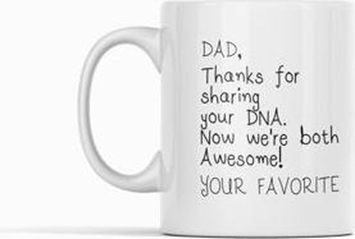 Witte koffie mok / beker met tekst. Dad thanks for sharing your DNA |papa|opa|Cadeau|vaderdag|