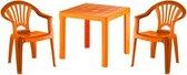 Oranje kunststof buiten tafeltje met 2 stoelen - Tuinmeubelen voor kinderen - Tuinset - Speelgoed tafel en stoelen