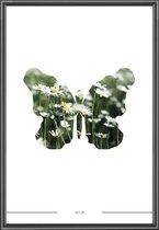 Poster Vlinder - 30x40 cm - Grafisch - incl lijst