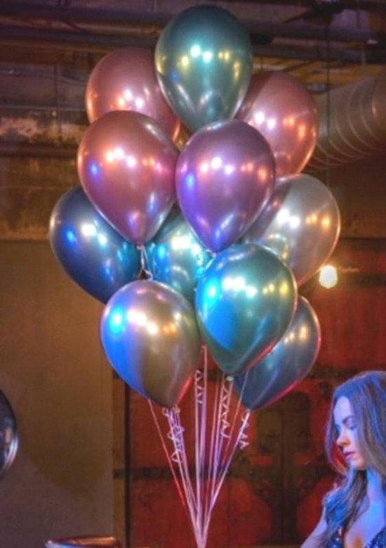 300 stuks groot assortiment, metallic XL ballonnen met sluiters - extra groot - hoge kwaliteit latex- extra groot 38 cm lang - peervorm - voor helium, lucht, etc. Nu met gratis snel sluiters t.w.v. 30,-