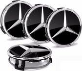 Set van 4 Mercedes naafdoppen 76mm zwart glans