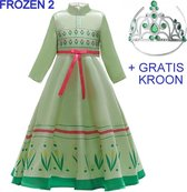 Frozen 2 Anna jurk groen 116-122 (120) + GRATIS kroon Prinsessen jurk verkleedkleding