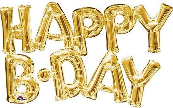Folieballon 'Happy Bday' - Goud